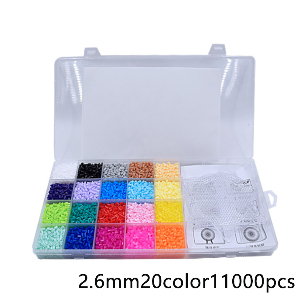 11000Pcs 2.6mm Funny Kids DIY Craft Toys 20 Colors Boxed Jigsaw Making Pendant Hama Beads Set Fuse Perler 3 Pegboards Gift(China)