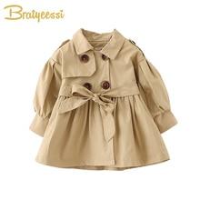 Модное детское пальто с поясом; хлопковая одежда для маленьких девочек на осень и весну; однотонная куртка для младенцев; пальто для маленьких девочек; 2 цвета