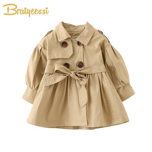 Baby Coat Spring Infant Jacket Cotton Fashion Solid with Belt Autumn 2-Colors