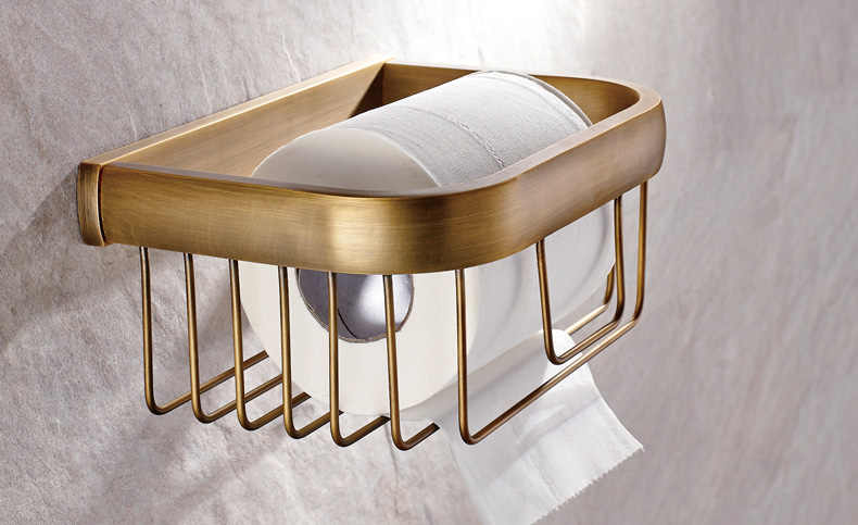 Antique Brass Square Bathroom Accessories Set Bath Hardware Towel Bar mset018