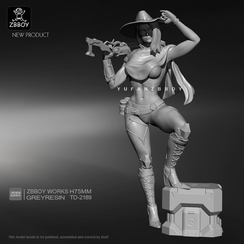 75mm Resin Fiugre Kits Futuristic Cowgirl Model Self-assembled TD-2189