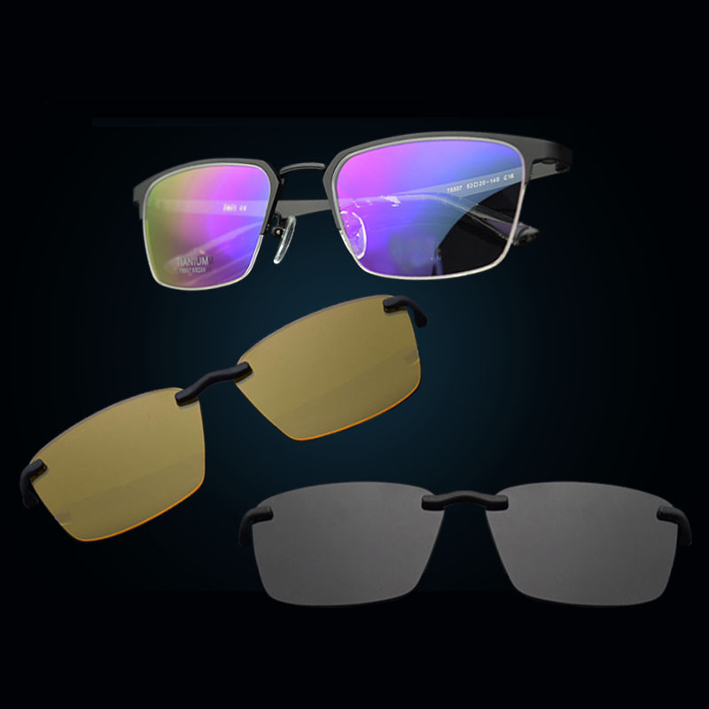 Half Frame Pure Titanium Glass Frame Matte black Polarized 3d Eyeglasses Myopia Men Sunglasses Night Vision