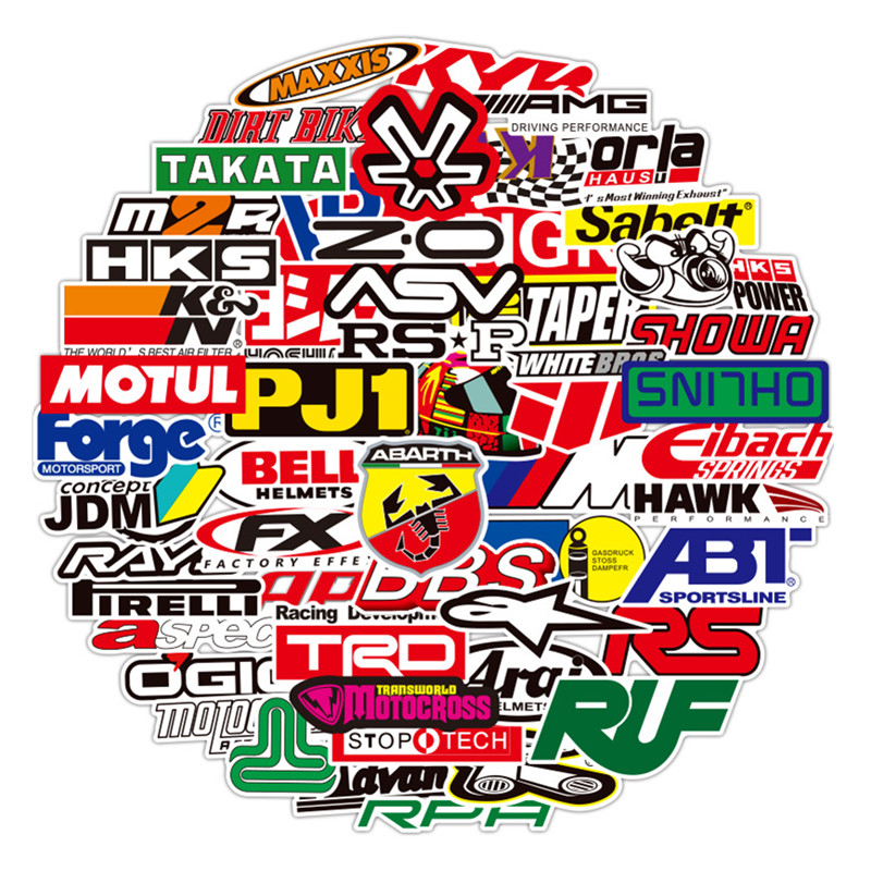 100PCS Racing Car Stickers Car Styling JDM Waterproof Sticker To DIY Motocross Racing Helmet Skateboard Bicycle Laptop Luggage