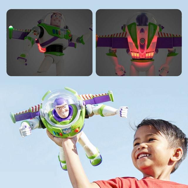 43cm Toy Story 4 Buzz Lightyear Toy Story Talking Lights Speak English Joint Movable Action Figure Anime Collectible Doll