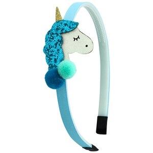 1 шт., ободки для девочек, повязка на голову с единорогом, блестящая объемная повязка на голову с блестками и шариками, новые модные детские головные уборы, аксессуары для волос