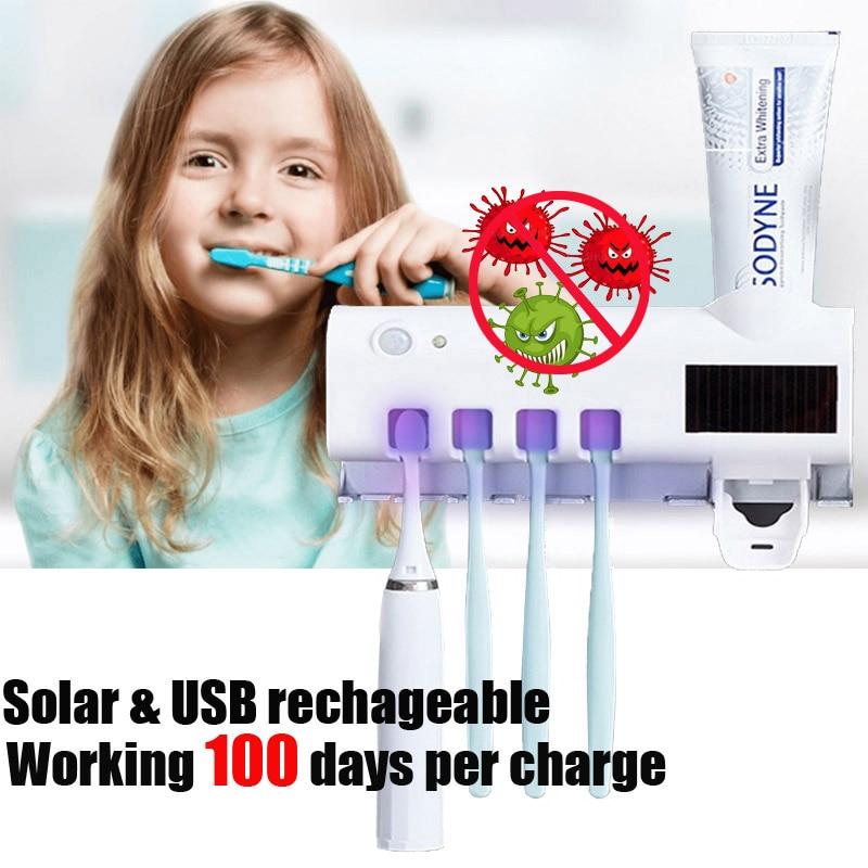 Uv-suporte de escova de dentes germicida parede solar pir banheiro desinfection esterilizador uv palito-distribuidor antibactérias ultravioleta