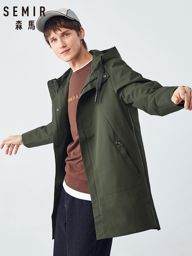 Semir Mid-length Windbreaker Trench Coat Men Value-for-money Autumn Hooded Men Handsome Black Jacket Youth Comfortable Warmth