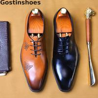 Italian Design Formal Leather Shoes Black Brown Genuine Cow Leather Oxfords Shoes Men Lace up Pointed Toe Bordered Men Shoes