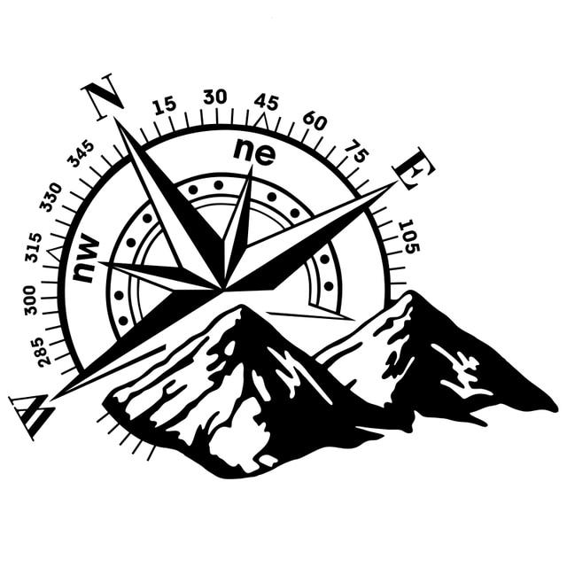 CK20338 # Sterben Cut Vinyl Aufkleber Die Berge. Kompass. Wind rose Auto Aufkleber Wasserdicht Auto Dekore