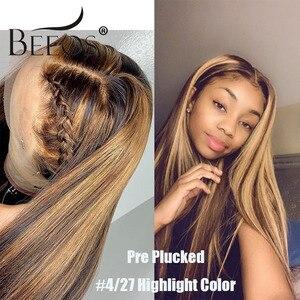 Image 2 - 13*6深部レースフロント人間の髪かつらストレートハイライトカラー髪事前摘み取らヘアライン漂白ノットブラジルのremy毛