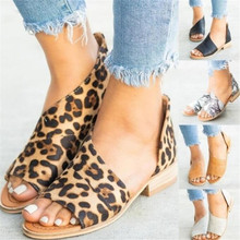 Single shoes female summer new side empty bag with fish mouth leopard pattern womens sandals 35-43