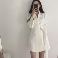 Vintage White Lace Up Women Blazer Notch neck Loose Women Jacket Elegant Outerwear 2019 Autumn Full Sleeve Female Blazers Jacket
