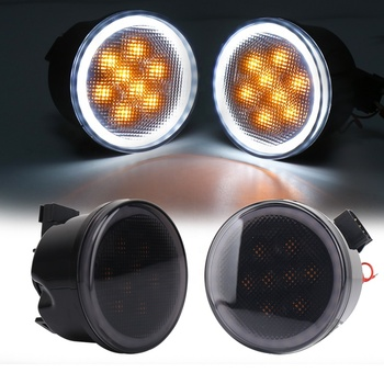 Smoke Lens Front LED Turn Signal Light Assembly with White Halo DRL for 2007-2011 2012 2013 2014 2015 2016 2017 Jeep Wrangler JK