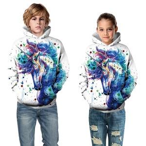Image 3 - Moda 3D jednorożec bluzy bluza dziewczyny chłopcy tęczowy koń zwierząt drukowane cienka, długa rękaw dzieci bluza z kapturem maluch płaszcz z kapturem