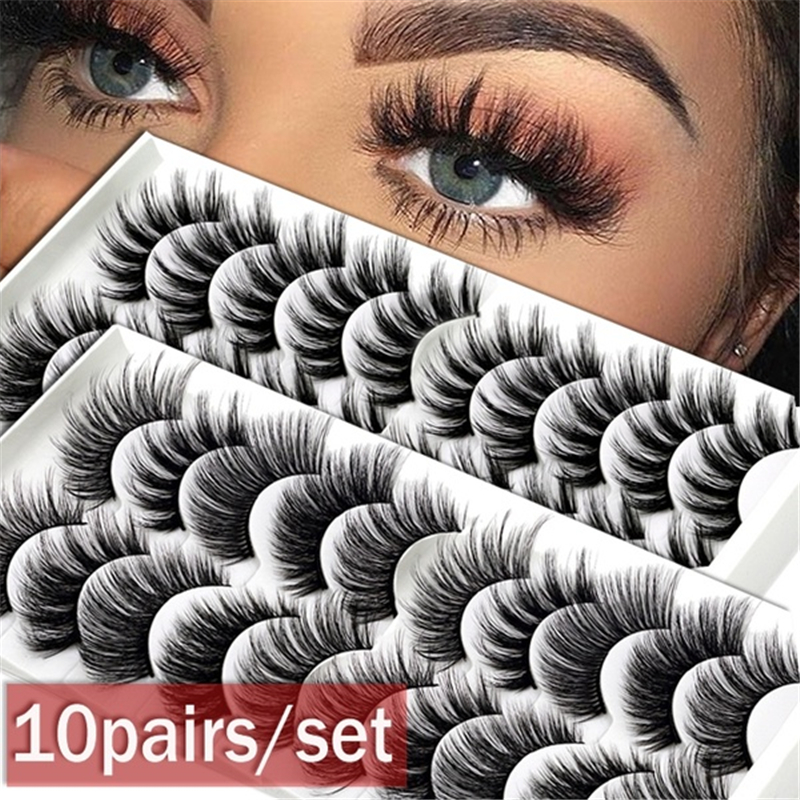 8styles 10Pairs/Set  Multipack Natural False Eyelashes For Woman 2020 Soft Cross Cheap Mink Lashes 3D Eyelashes Drop Shipping