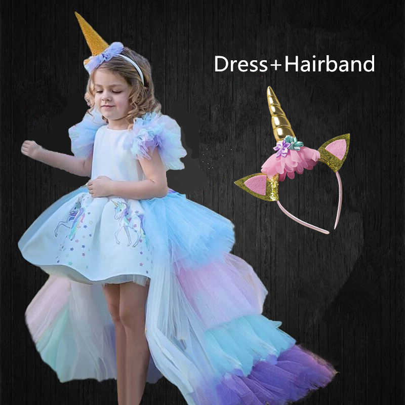 Long Tail Unicorn Dress for Girls Birthday Party Dress Elegant Baby Girl Princess Carnival Costume Hairband Pastel Rainbow Gown