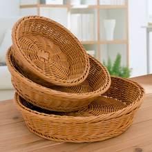 Кухонный органайзер плетеная лоза круглая корзина поднос для