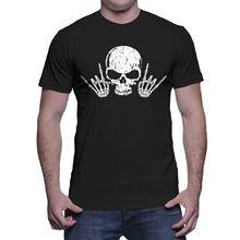 Rock N Roll Skull- Music Metal Mens T-Shirt2019 fashionable Brand 650%cotton Printed Round Neck T-shirts cheap wholesale
