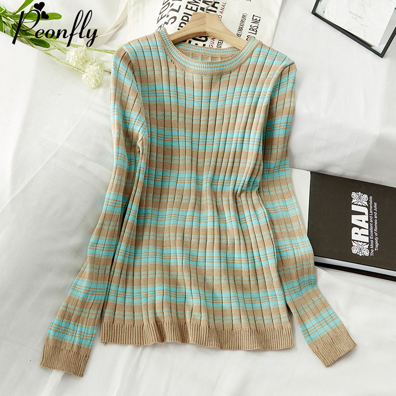 PEONFLY High Elastic Striped Pullover Sweater Women 2019 Autumn Winter Long Sleeve Knitted Female Jumper Women Green Blue