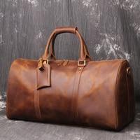 Crazy Horse Leather Men Travel Bag Real Leather Cowhide Carry On Luggage Bags Travel Shoulder Bag Weekender Bag