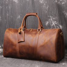 Crazy Horse Leather Men Travel Bag Real Leather Cowhide Carr