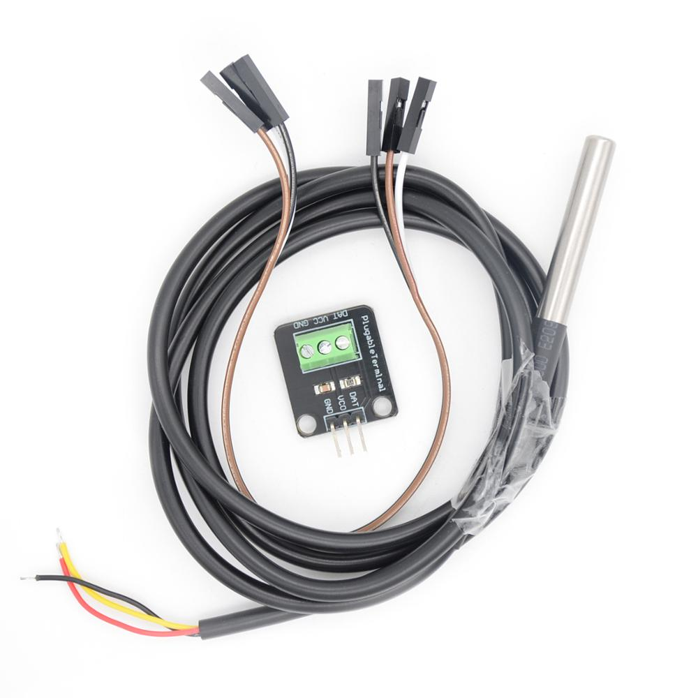 <font><b>DS18B20</b></font> Temperature Sensor <font><b>Module</b></font> Kit Waterproof 100CM Digital Sensor Cable Stainless Steel Probe Terminal Adapter For Arduino image