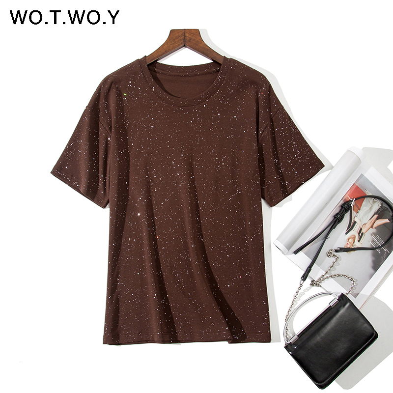 WOTWOY Spring Summer Sequins Female T-shirt 2020 Basic Knit O-neck CottonElastic Tshirt Women Casual Short Sleeve Lady Tops Tees