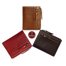 RFID Mens Wallets Vintage Genuine Leather Wallet Coin Purse Short Paragraph Men Anti Theft