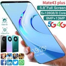 Mate43 Plus-teléfono inteligente Android 10, móvil de 5,8 pulgadas, Dual SIM, identificación facial, 8 núcleos, 4800mAh, 6 + 128GB, MTK6763, 4G, 5G, identificación de huellas dactilares
