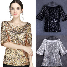 Mode Frauen Pailletten Sparkle Coctail Party Casual Top Crop Tops Hemd Poleras Mujer Neon Sommer Top # ss(China)