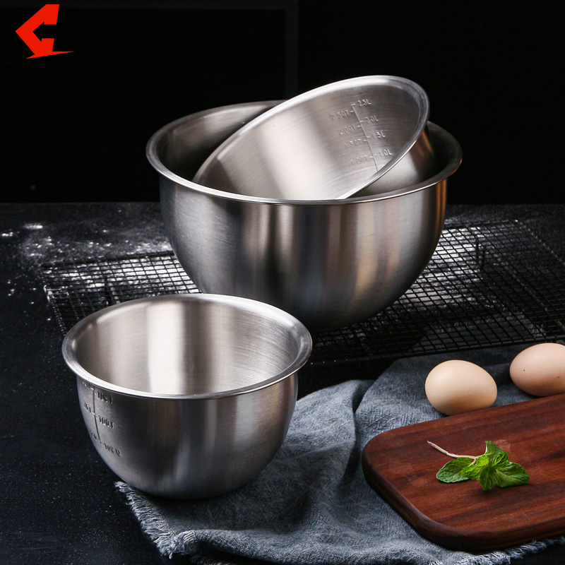 Stainless Steel Mixing Bowls with scale Non Slip Nesting Whisking Bowls Set Mixing Bowls For Salad Baking