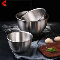 CHANOVEL-cuencos de mezcla de acero inoxidable 304, juego de cuencos antideslizantes con escala para mezclar ensaladas y hornear