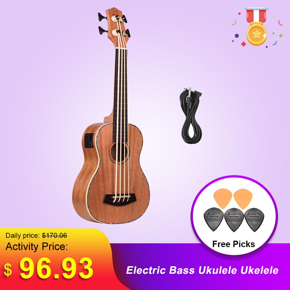 30 Inch Electric Bass Ukulele Ukelele Uke Sapele Plywood Body Padauk Fretboard Rubber Strings Built-in Tuner EQ 3m Audio Cable
