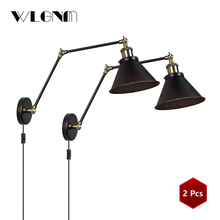 VINTAGE โคมไฟผนังอุตสาหกรรมปรับ LED กำแพงแสง sconces ผนังห้องนอนอเมริกัน Retro แสง