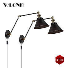 Lámpara de pared Vintage Industrial luces de pared ajustable led candelabros para luces de pared dormitorio luz americana país Retro iluminación