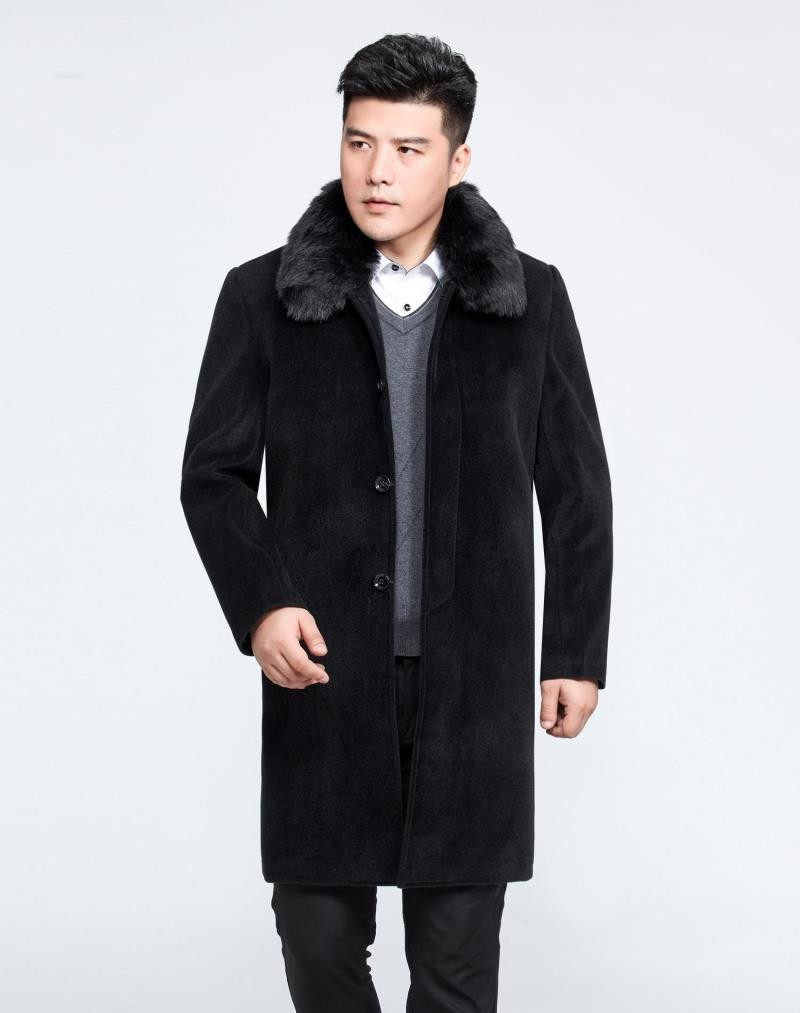 Man Collar Faux Fur Jacket Winter Men's Coat Plus Size 5XL Mens Wool Overcoat Padded Jackets Abrigo Hombre WXF525
