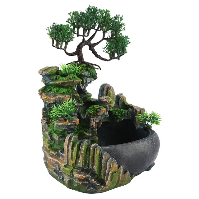 1PC Mini Desktop Fountain Waterfall Small Rockery Feng Shui Wheel Greenery Home Decoration Humidifier Desk Decoration Gifts 6