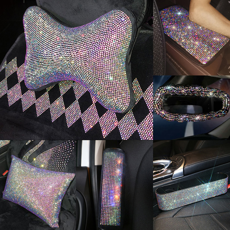Crystal Car Seat Belt Cover Pad Neck Pillow Diamond Steering Wheel Cover Bling Auto Interior Accessories