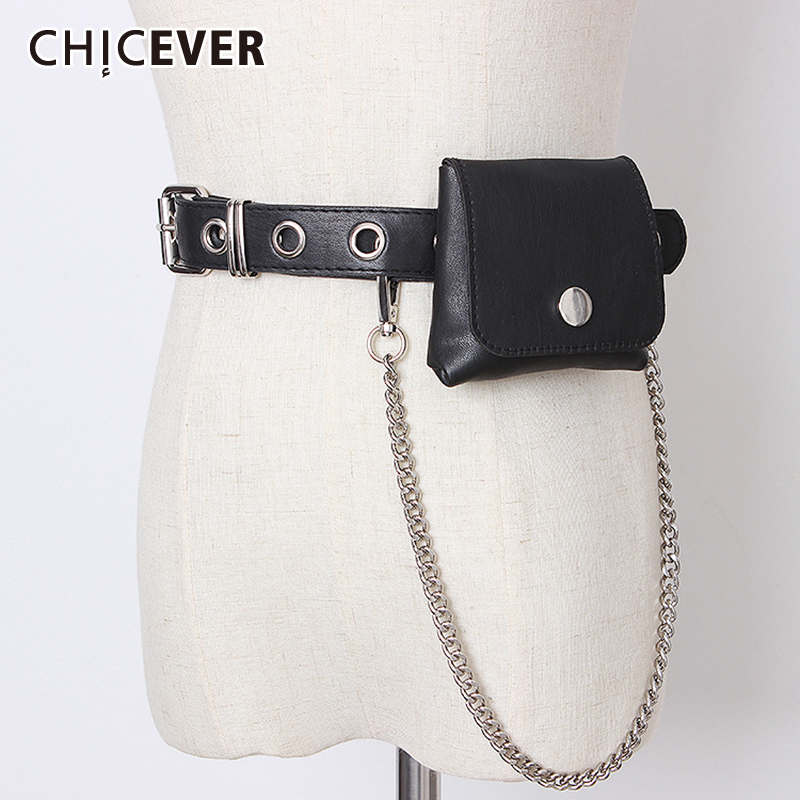 CHICEVER Korean Chain Bag Patchwork PU Leather Belts Female Vintage Dresses Accessories Belt For Womens Fashion New 2020 Summer