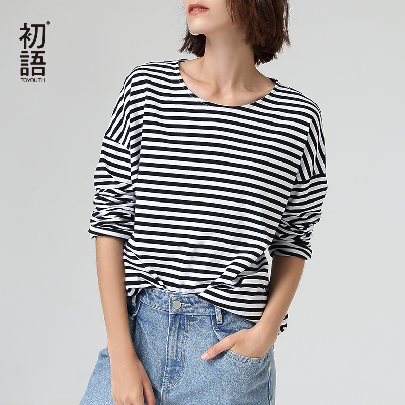 Toyouth Women Black White Striped Basic T-shirt Autumn Round Neck Loose Tee Shirt Casual Striped Tops