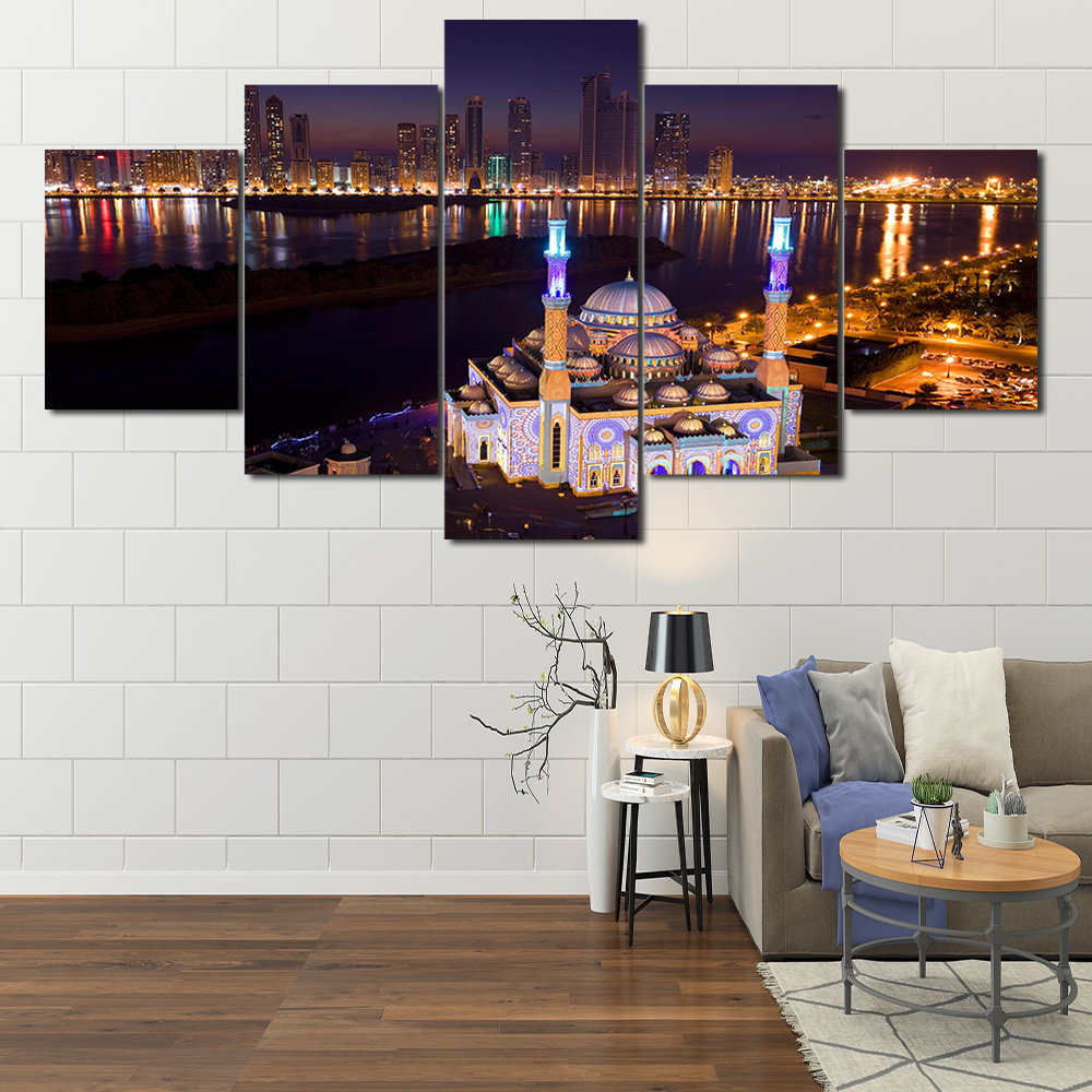 HD 5 panel printing night Sharjah landscape canvas painting modern template for living room study decoration