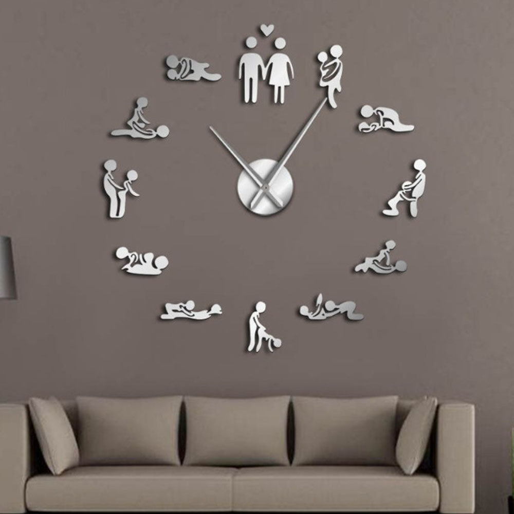 Sex Love Position Mute Wall Clock Bachelorette Game Sexy Kama Sutra 3D DIY Clock Watch Funny Adult Room Decor Sticker Art New(China)
