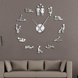 Sexo amor posição mudo relógio de parede de despedida jogo sexy kama sutra 3d diy relógio engraçado adulto quarto decoração adesivo arte nova