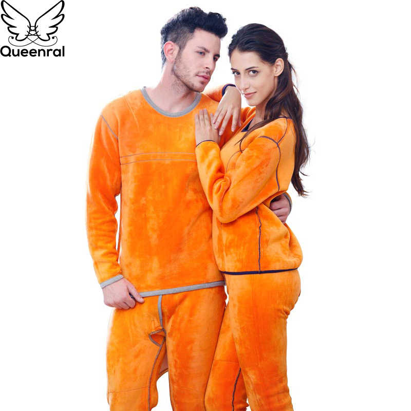 Queenral кальсоны для мужчин и женщин теплое термобелье одежда для мужчин и женщин зимний костюм для защиты от пониженных температур толстый теплый бархатный набор термо