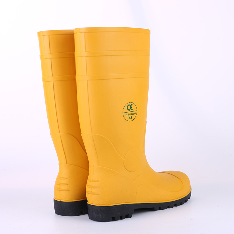 Foreign Trade CE Standard PVC Rain Boots Labor Safety Rain Shoes Boots  Miner Rain Shoes Steel Top Steel Bottom Anti-slip Wear-