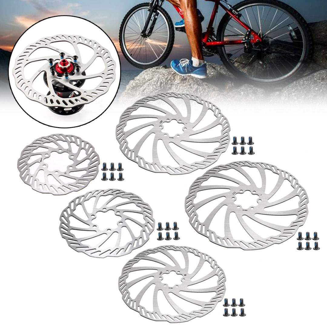 1Pcs 120/140/160/180/203mm Stainless Steel Bike Disc Brake Rotors With 6 Bolts For Mountain Road Parts High Quality