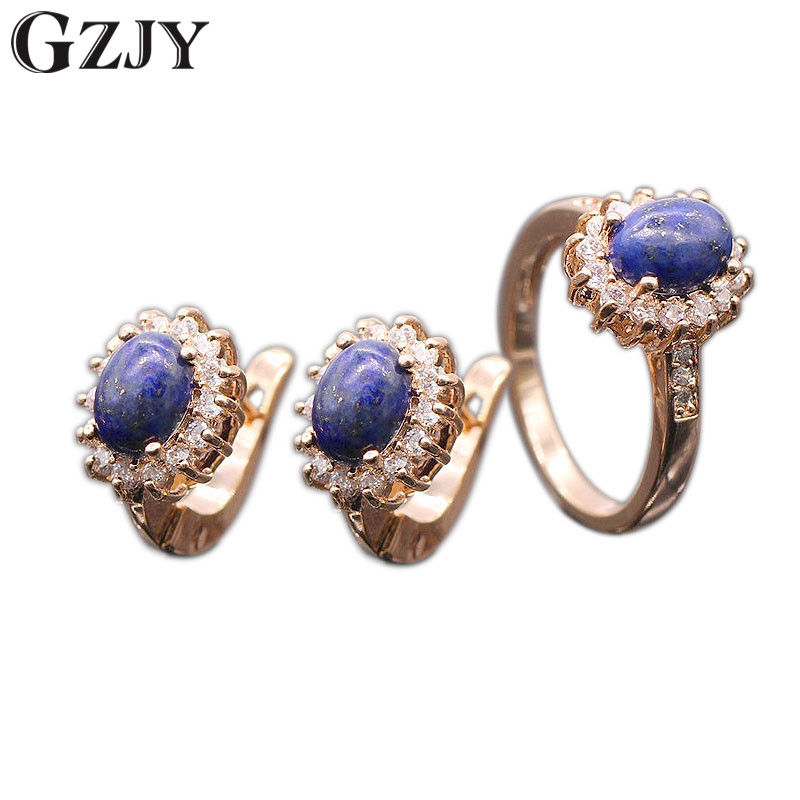 GZJY Romantic Style Natural Lapis lazuli AAA Cubic Zircon Rose Gold Color Flower Earrings Ring Set For Women Wholesale(China)