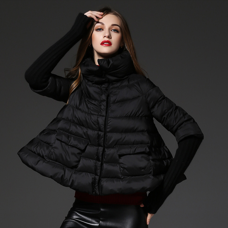 Loose fit cloak style white duck   down   jackets women   down     coats   2019 autumn winter new collection