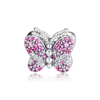Mixed Stones Pink Butterfly Crystal Charm Beads for Jewelry Making 2019 New Spring Silver 925 Jewelry Beads for Charms Bracelets