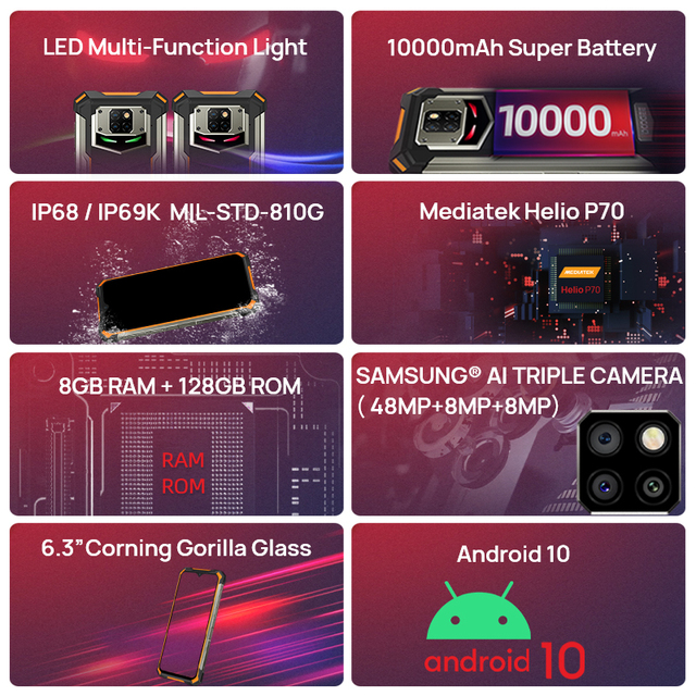 DOOGEE S88 Plus Rugged SmartPhone 48MP Main Camera 8GB RAM 128GB ROM IP68/IP69K smart phone Android 10 OS Global version 6